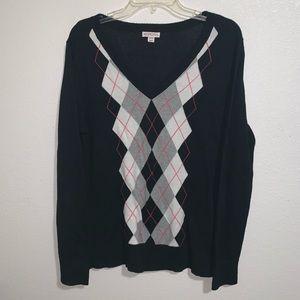 Merona Argyle Pullover V Neck Sweater Plus Size